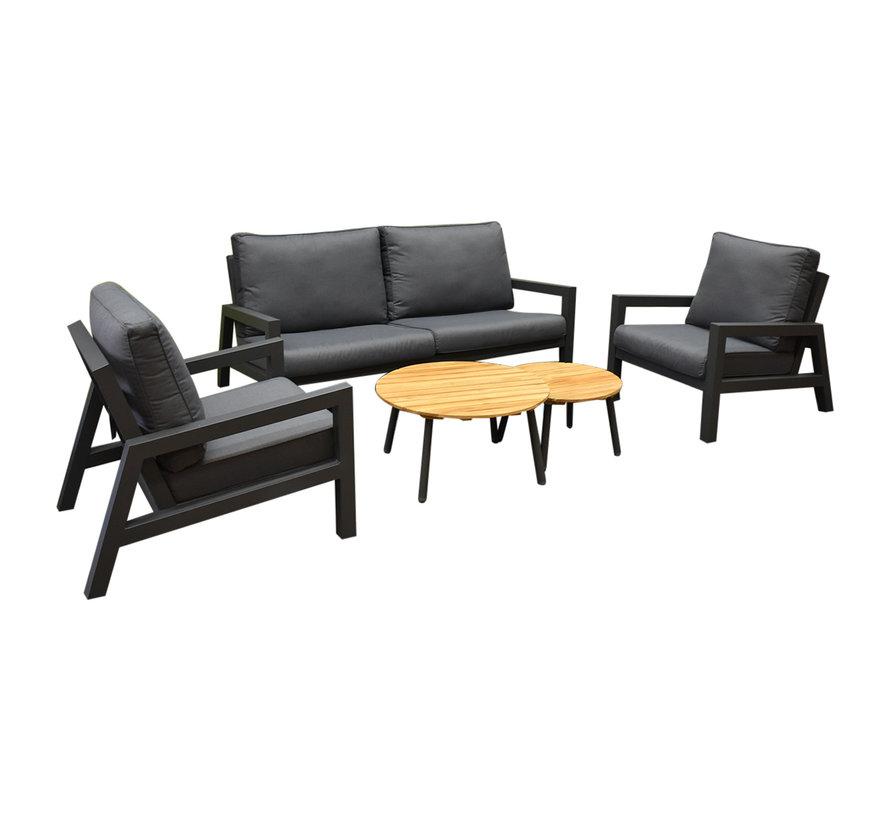 SUNS Lago stoel bank loungeset 5 delig antraciet aluminium