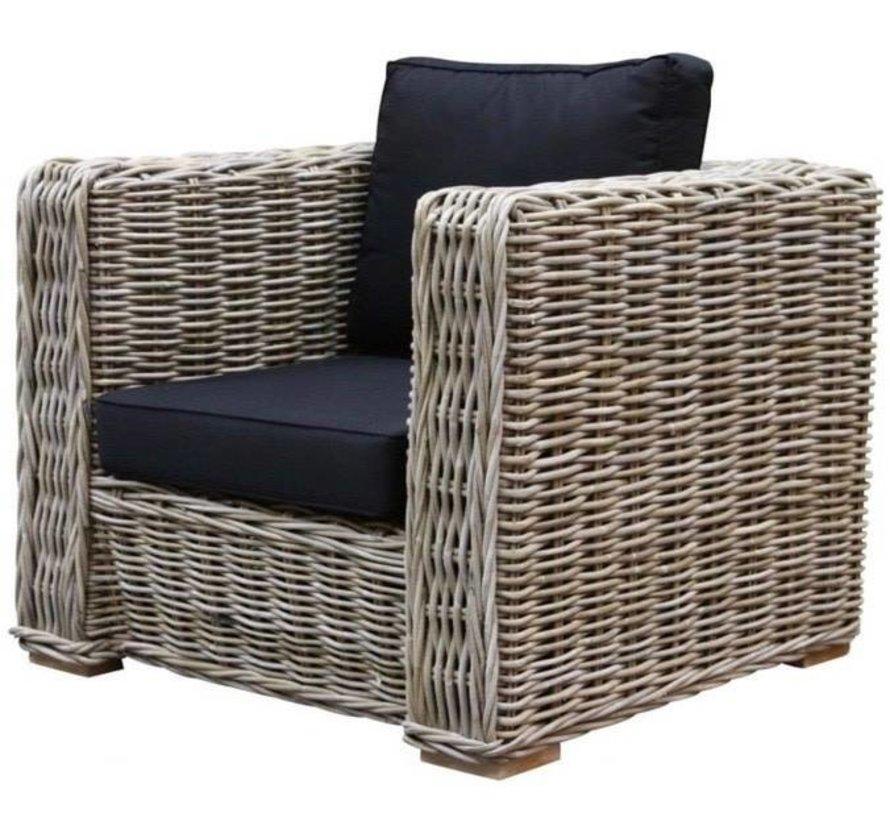 Nissah lounge tuinstoel naturel rotan Nagata Black