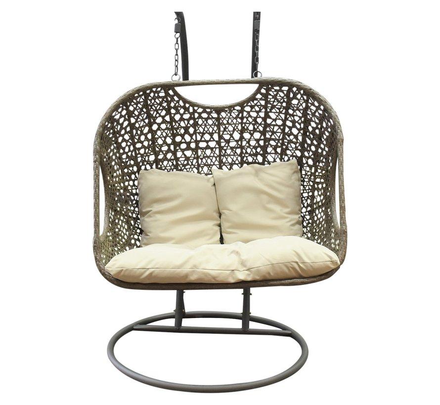 Arola hangstoel - 2 persoons licht bruin