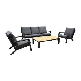 AVH-Collectie Malaga stoel bank loungeset 4-delig aluminium antraciet teak