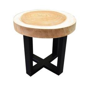 AVH-Collectie Boomstamtafel met gepoedercoat RVS poten  50xH47 cm rond - bladdikte 6 cm