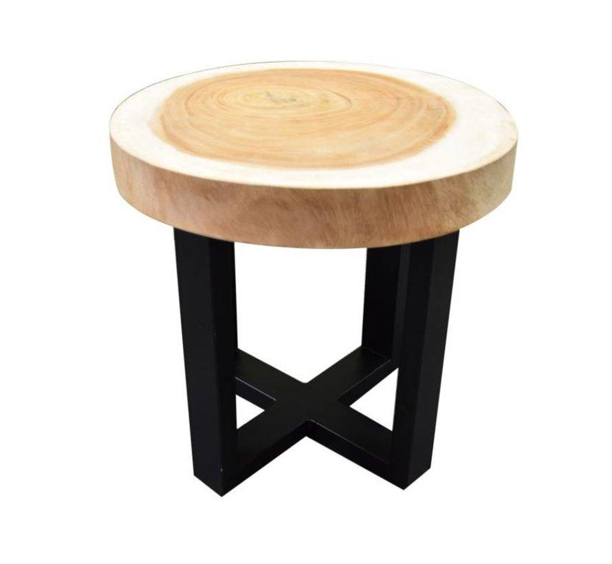 Boomstamtafel met gepoedercoat RVS poten  50xH47 cm rond - bladdikte 6 cm
