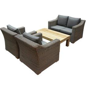 AVH-Collectie Tenerife stoel-bank loungeset 4-delig bruin