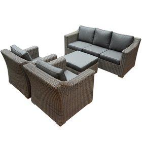 AVH-Collectie Tenerife stoel-bank loungeset 4-delig bruin vlechtwerk
