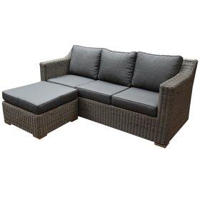 AVH-Collectie Tenerife chaise longue loungeset 2-delig bruin vlechtwerk