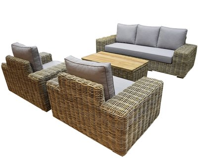 AVH-Collectie Otava stoel-bank loungeset 4-delig naturel rotan