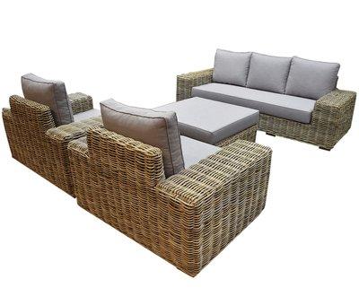 AVH-Collectie Otava stoel bank loungeset 4-delig naturel rotan