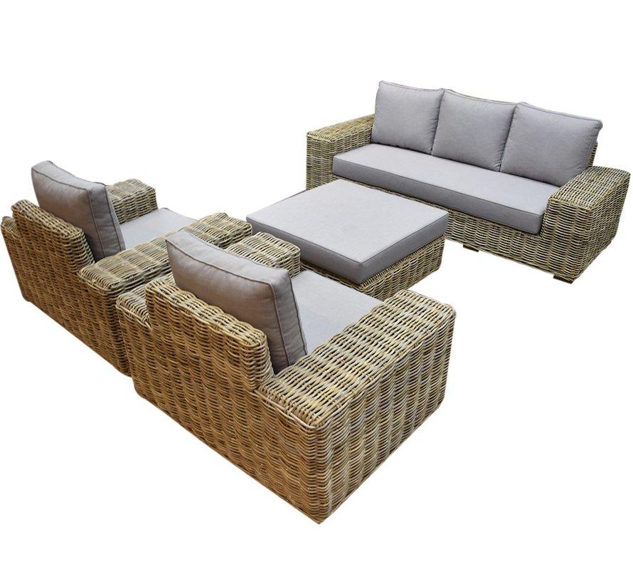 Otava stoel bank loungeset 4-delig naturel rotan