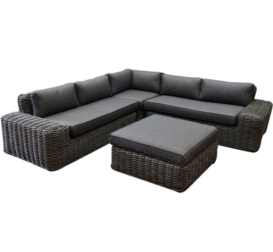 Yate hoek loungeset 4-delig antraciet vlechtwerk