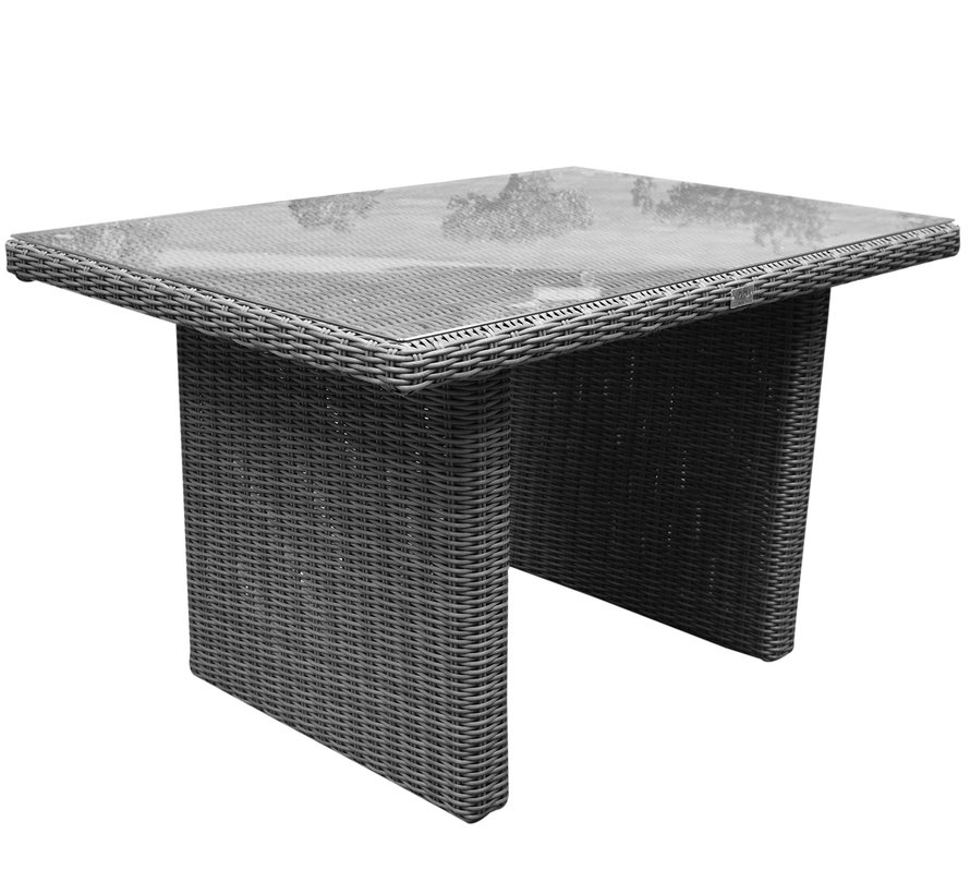 Ibiza premium lounge-diningtafel 120x80xH70 cm antraciet