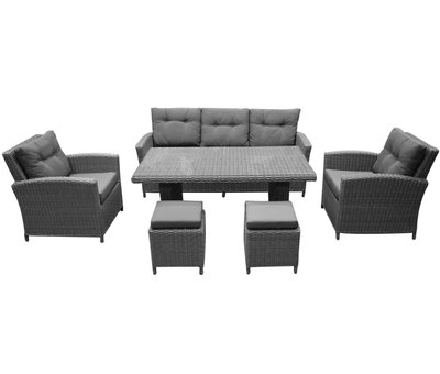 AVH-Collectie San Diego stoel-bank dining loungeset 6-delig – Sunproof all weather
