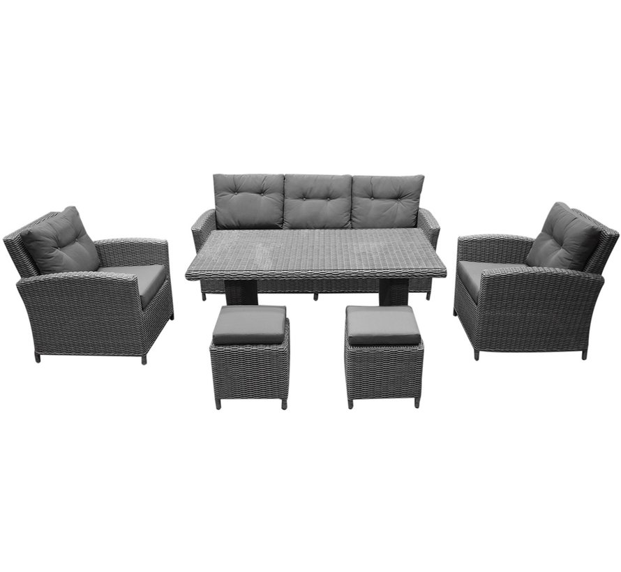 San Diego stoel-bank dining loungeset 6-delig – Sunproof all weather