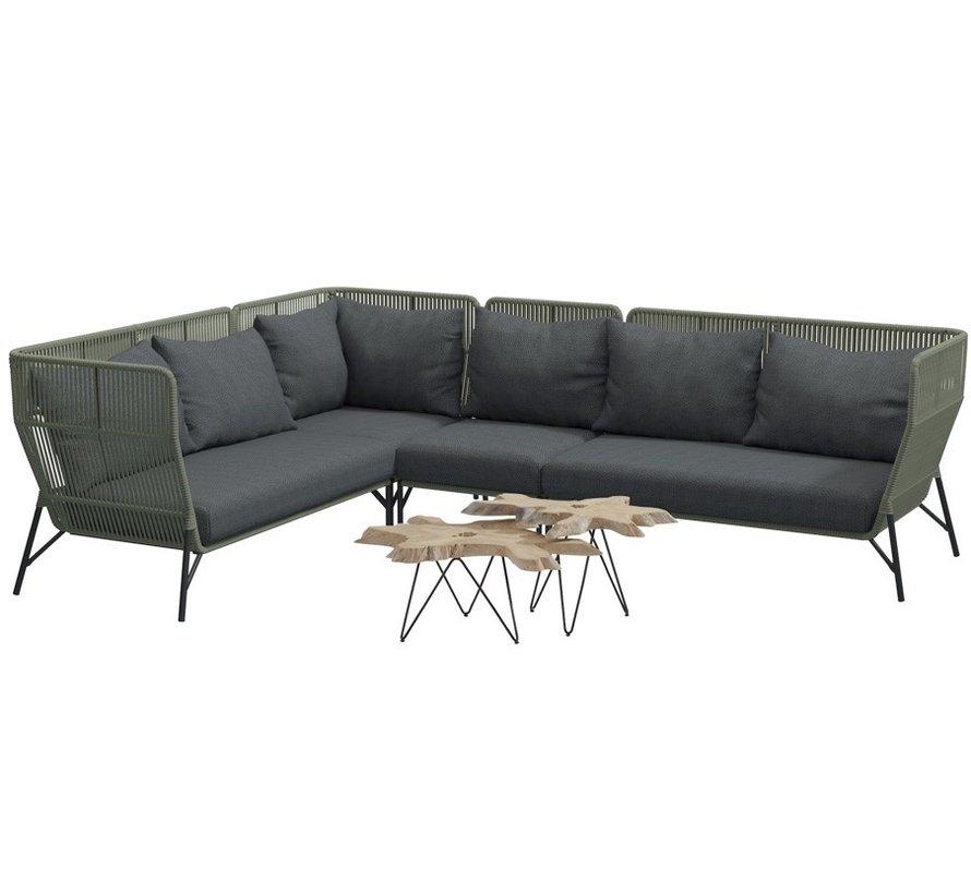 4 Seasons Outdoor Altoro modulair hoek loungeset 6-delig rope