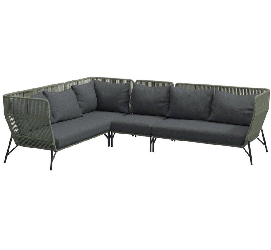 4 Seasons Outdoor Altoro modulair hoek loungeset 4-delig rope