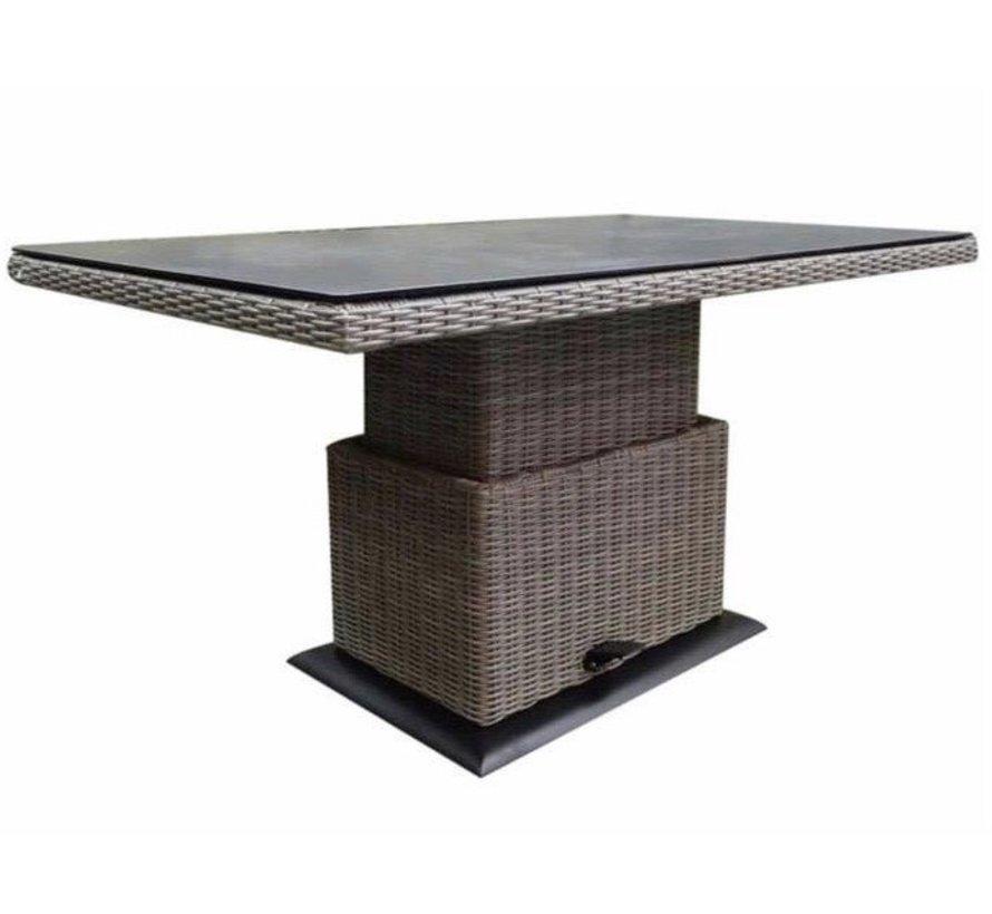 Miami lounge-diningtafel 130x75xH47-71 cm in hoogte verstelbaar grijs