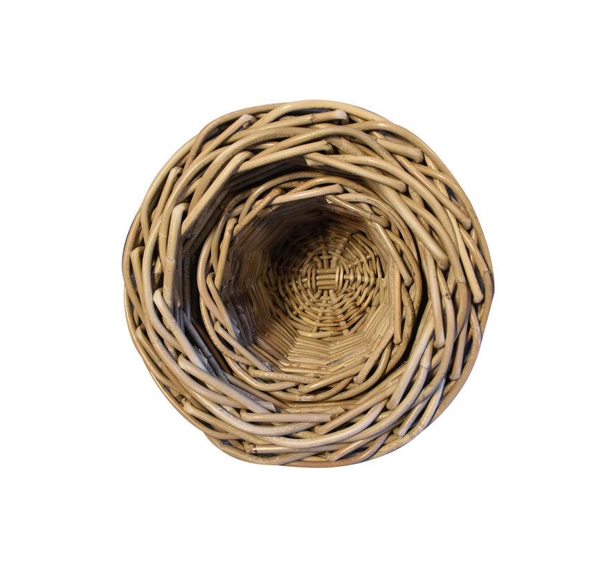 Bao mandenset 18x18xH15 cm, 24x24xH20 cm en 29x29xH25 cm