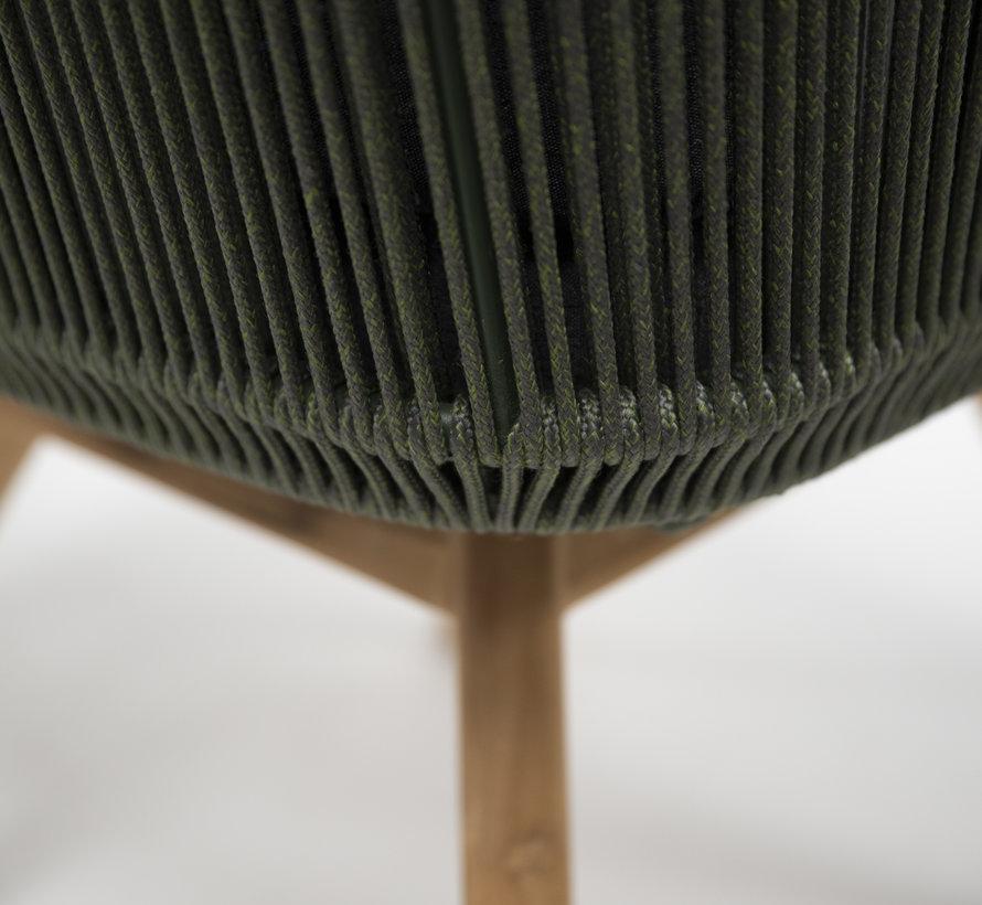 4 Seasons Outdoor Flores dining stoel met teak poten groen rope