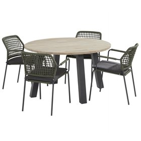 Taste 4SO Derby Barista dining tuinset 130 cm rond groen 5 delig Taste 4SO