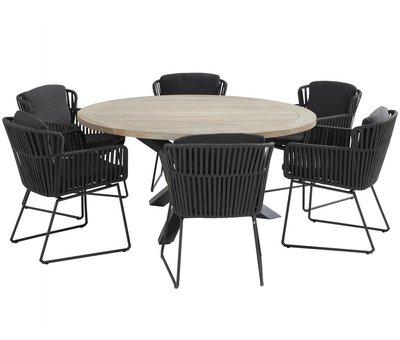 Taste 4SO Louvre Vitali dining tuinset 160 cm rond 7 delig antraciet Taste 4SO
