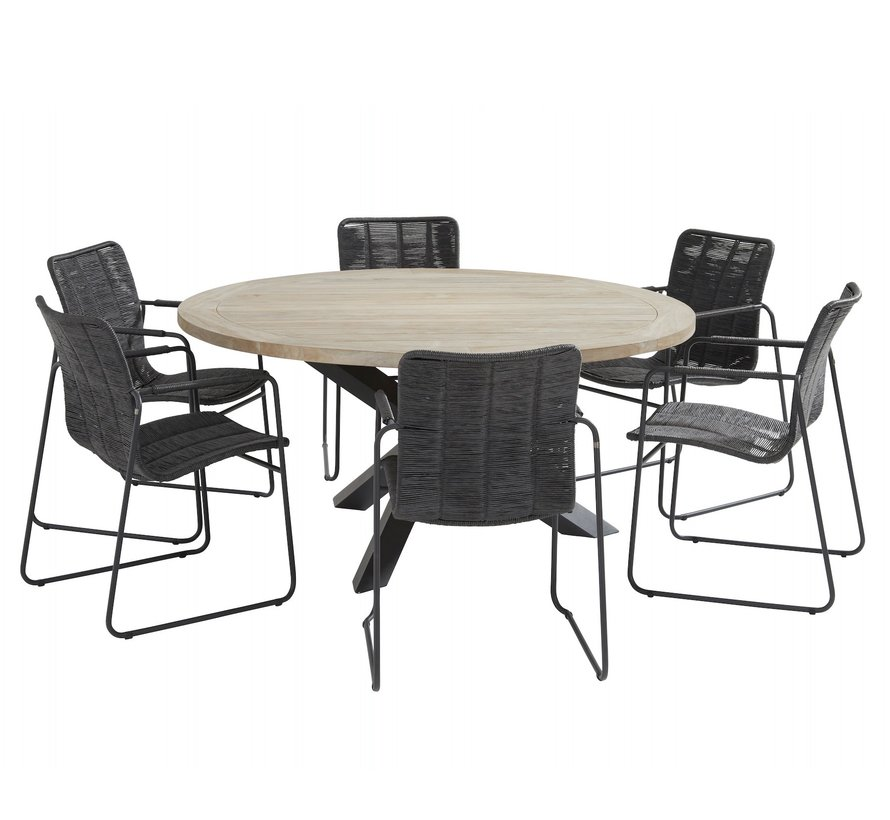 Palma Louvre dining tuinset 160 cm rond 7 delig antraciet Taste 4SO