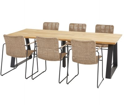 Taste 4SO Palma basso dining tuinset 240x100xH75 cm 7 delig naturel Taste 4SO