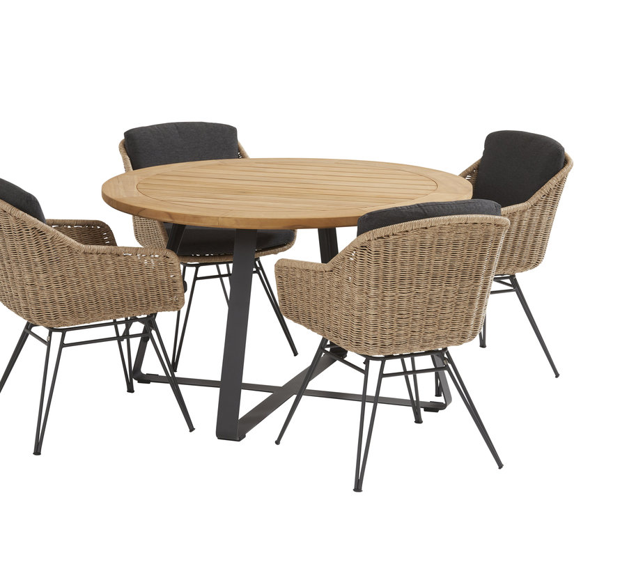 Bohemian basso dining tuinset 130xH75 cm 5 delig naturel Taste 4SO