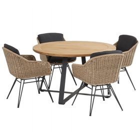 Taste 4SO Bohemian basso dining tuinset 130xH75 cm 5 delig naturel Taste 4SO