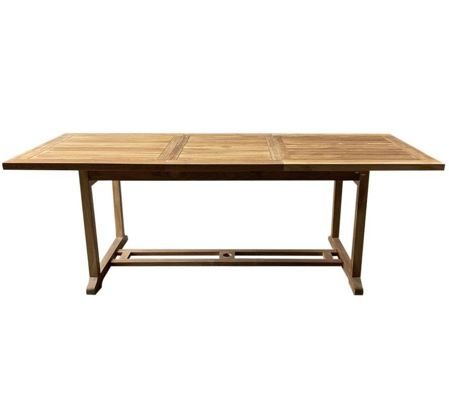 Rechthoekig uitschuifbare dining tuintafel 160-220x100xH76 cm bladdikte 4 cm teak