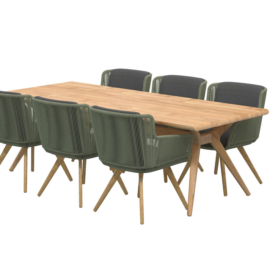 4 Seasons Outdoor Flores Spartan dining tuinset 240x100xH75 cm 7 delig groen teak