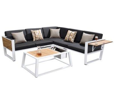 Higold York hoek loungeset 4-delig wit aluminium zwarte kussens