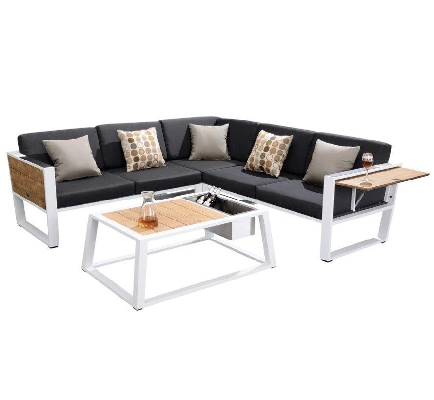 York hoek loungeset 4-delig wit aluminium zwarte kussens