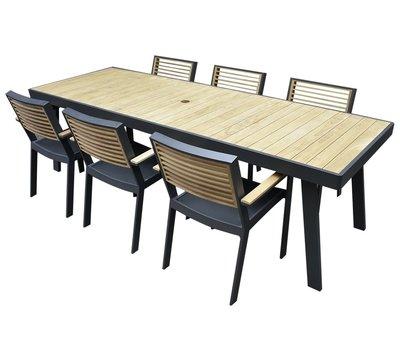 Higold York dining tuinset 260x90xH75 cm 7-delig teak aluminium