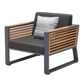 Higold New York lounge tuinstoel aluminium antraciet teak