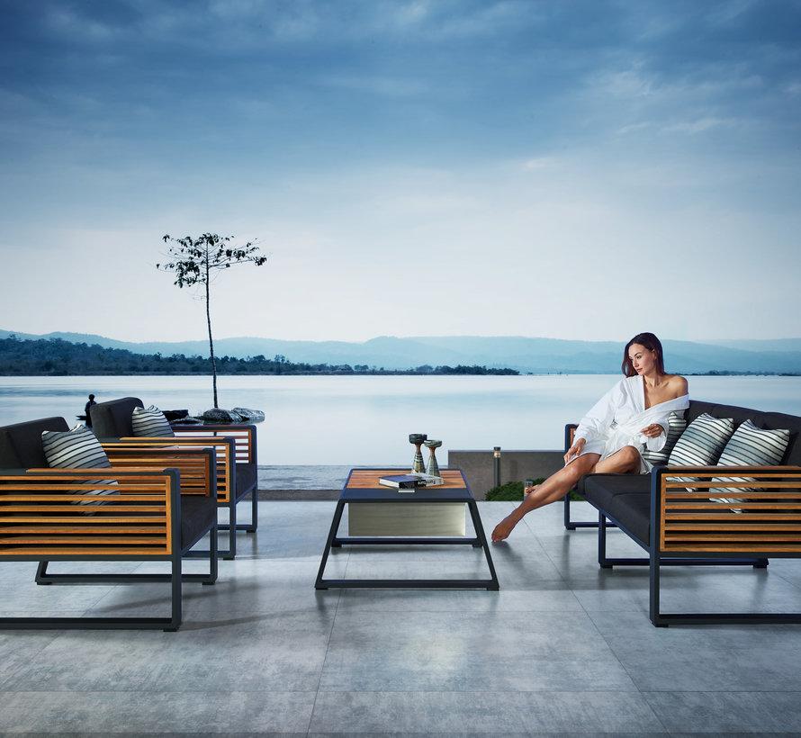 New York lounge tuinstoel aluminium antraciet teak