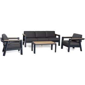 AVH-Collectie Victoria stoel bank loungeset 4 delig aluminium teak
