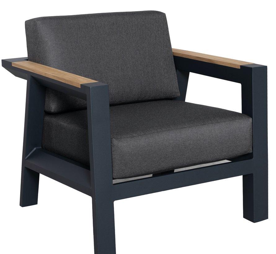 Victoria stoel bank loungeset 4 delig aluminium teak