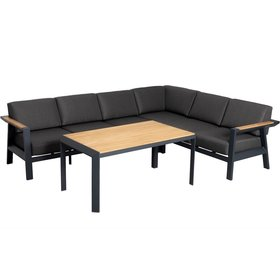 AVH-Collectie Victoria hoek dining loungeset 3 delig aluminium teak