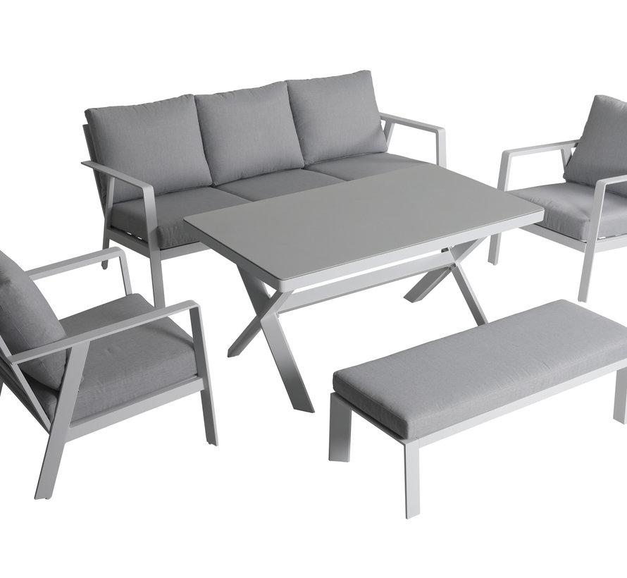 Jamaica stoel bank dining loungeset 5 delig aluminium wit