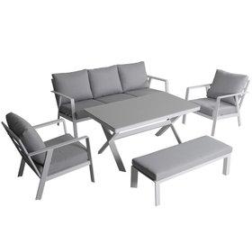 AVH-Collectie Jamaica stoel bank dining loungeset 5 delig aluminium wit