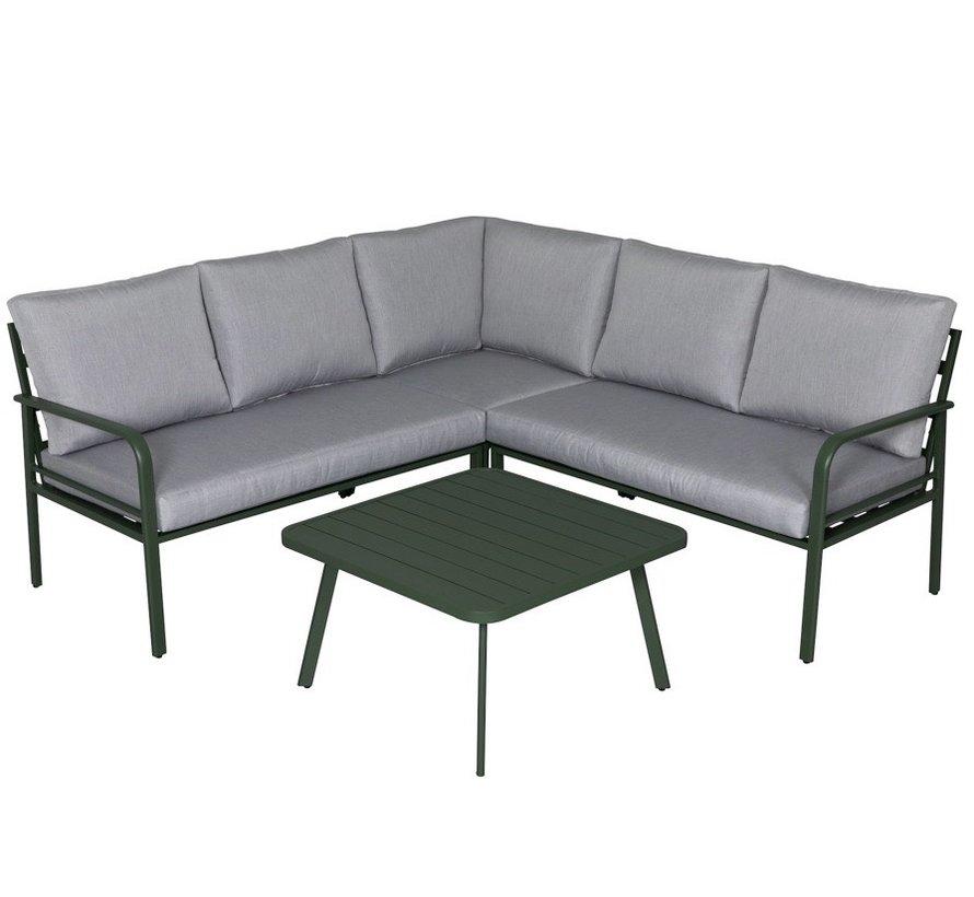 Cottica hoek loungeset 4 delig groen aluminium