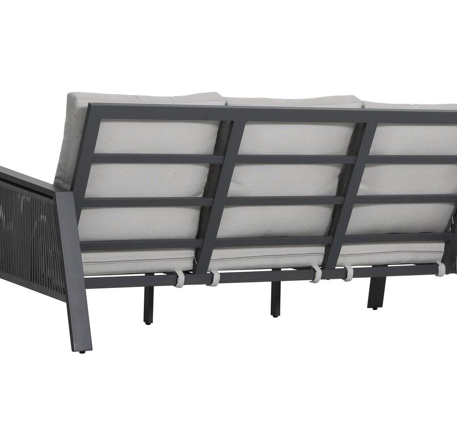 Vitoria stoel bank loungeset 4 delig antraciet aluminium rope