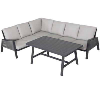 AVH-Collectie Vitoria dining hoek loungeset 4 delig antraciet rope aluminium