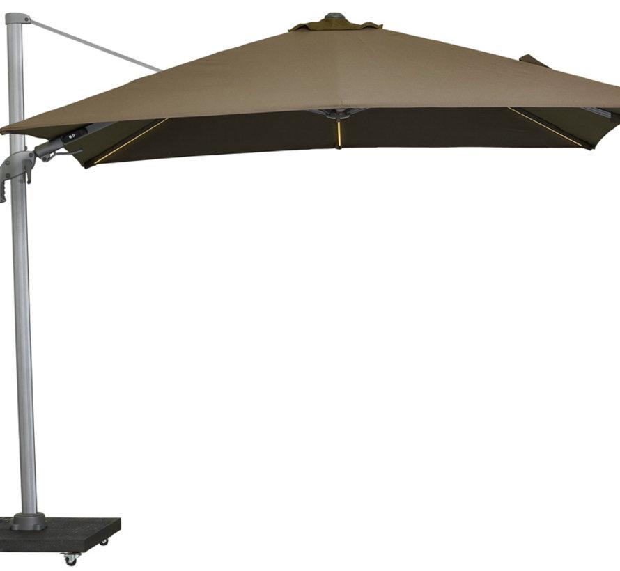 Malibu T2 zweefparasol LED 300x300 cm taupe