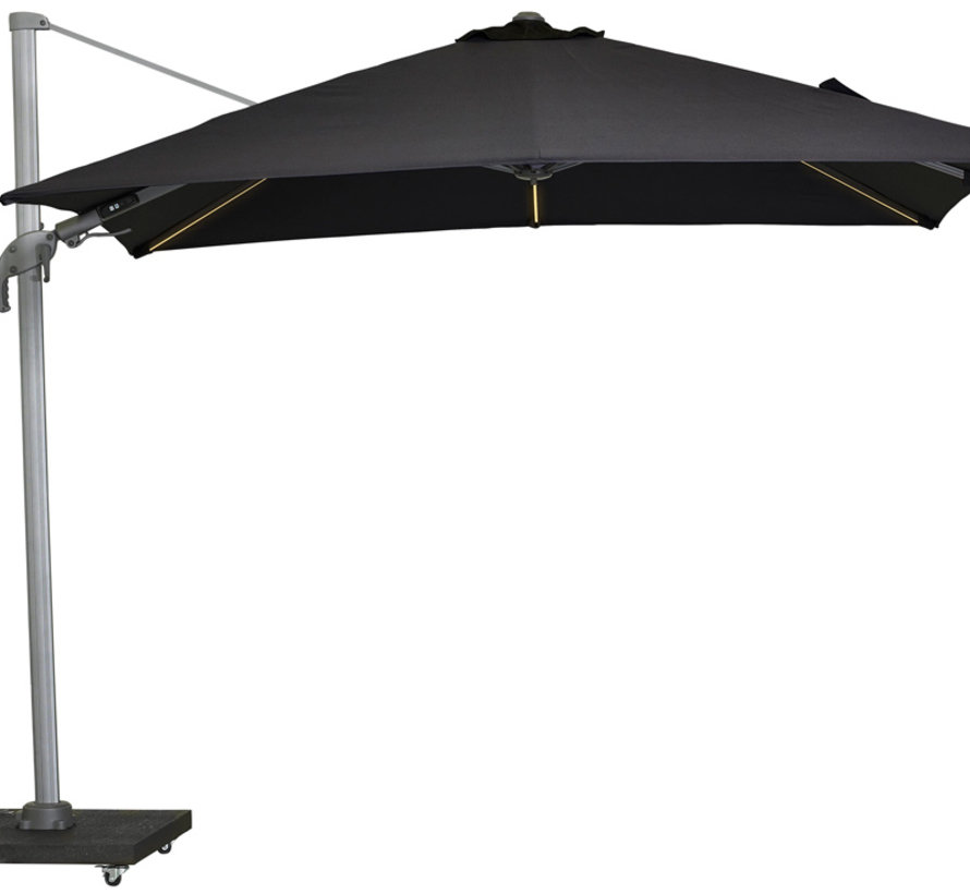 Malibu T2 zweefparasol LED 300x300 cm antraciet