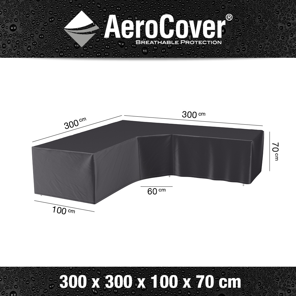 Loungesethoes XL Trapezehoek 300x300x100xH70 cm L vorm? AeroCover