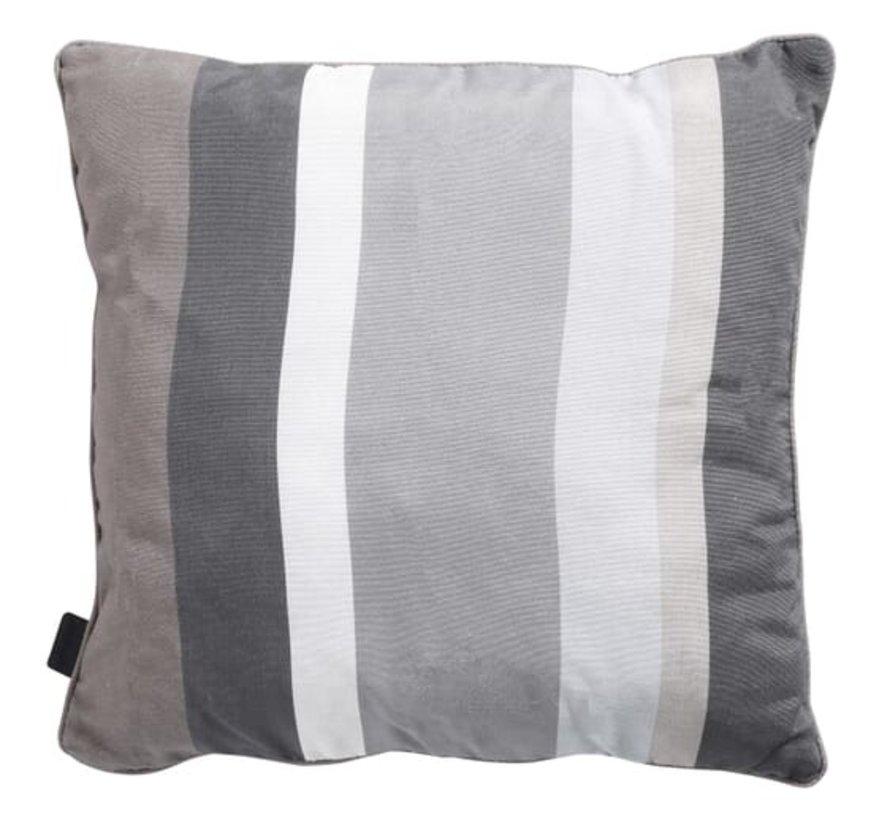 Sierkussen met paspel 50x50 cm Stripe grey