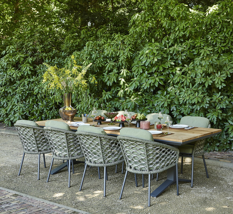 SUNS Nappa dining tuinstoel matt royal grey/mix macrame green rope/forest green