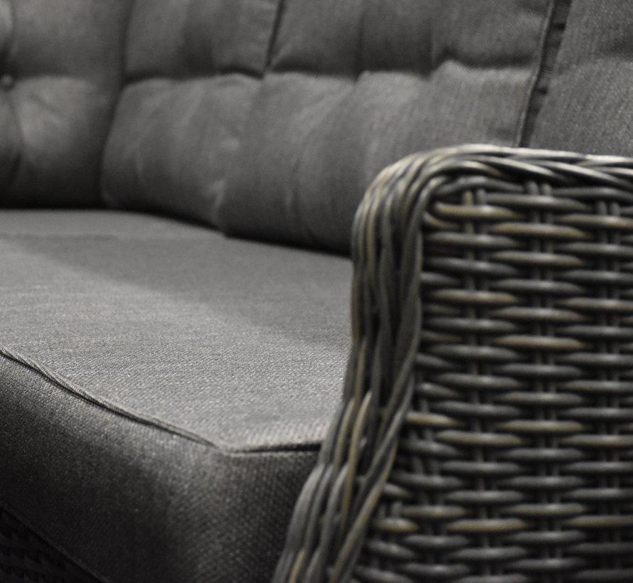 Ibiza premium dining loungeset 4-delig antraciet vlechtwerk