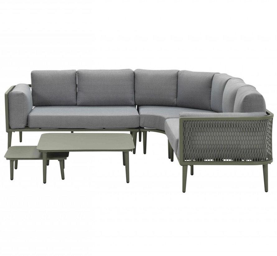 Nina hoek loungeset 5 delig groen aluminium
