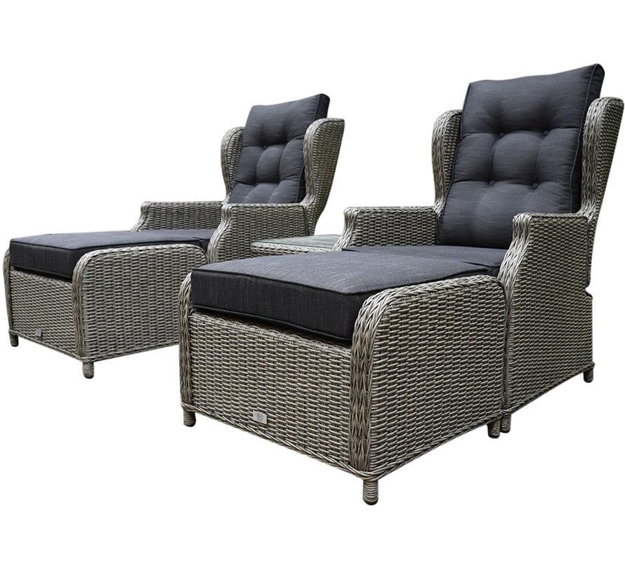 Toscane XL lounge balkonset verstelbaar 5-delig grijs
